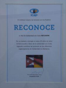 Das Netzwerk Cuba e.V. wurde vom ICAP geehrt